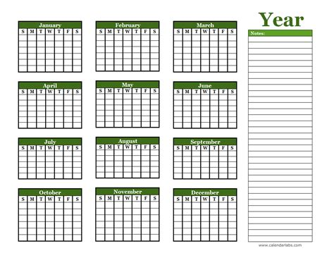 yearly blank calendar  holidays  printable templates