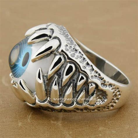 blue eyeball skull claw 925 sterling silver mens