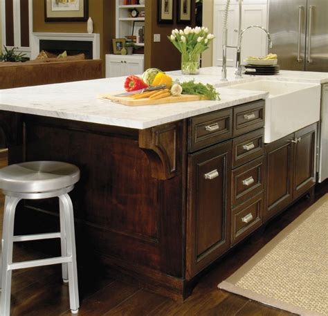 traditional kitchen island with farmhouse sink