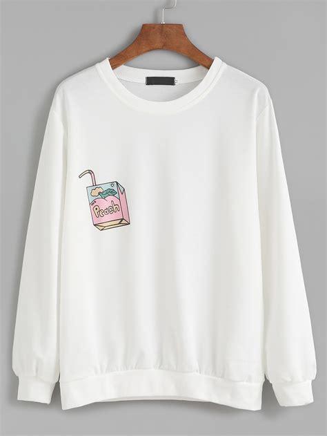 Sweatshirt Print drawing print drop shoulder sweatshirt shein sheinside