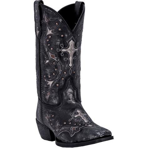 laredo womens black leather silver cross underlay western
