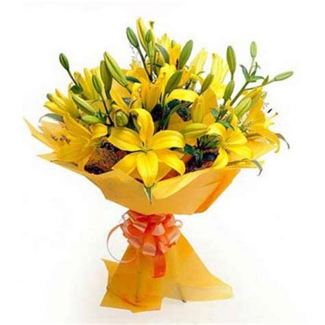 Flowers And Bouquets by 10 Yellow Lillies Flower Bouquet Myflowergift