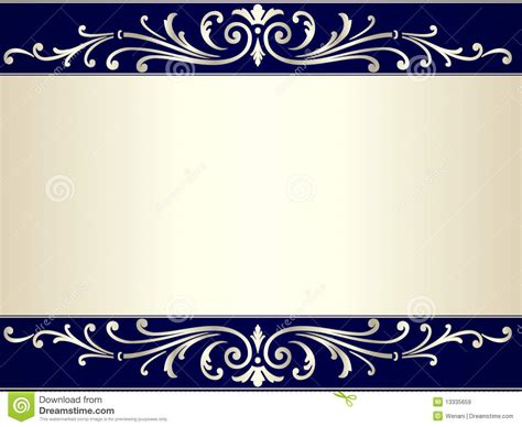 navy blue background with golden royal borders stock image and vintage scroll background in silver beige and blue royalty