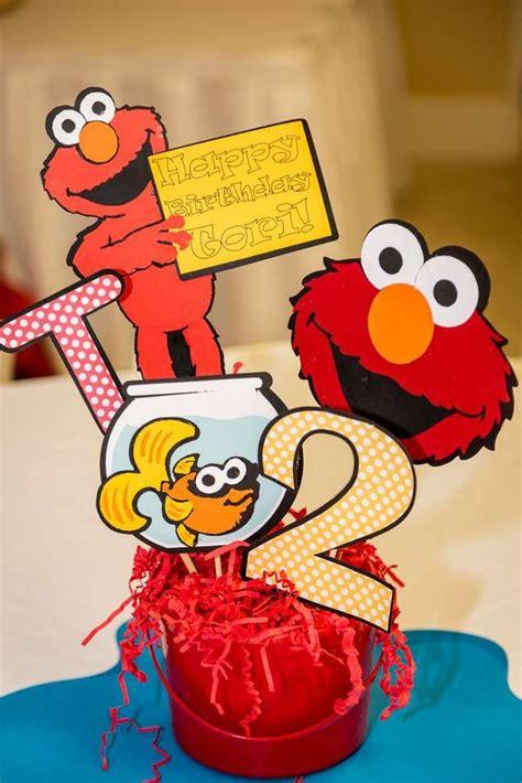 Elmo Centerpieces Decorations Sesame And Elmo Birthday Ideas Elmo