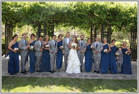Bridesmaid Dresses And Tuxedos - navy blue bridesmaid dresses and grey tuxedos navy