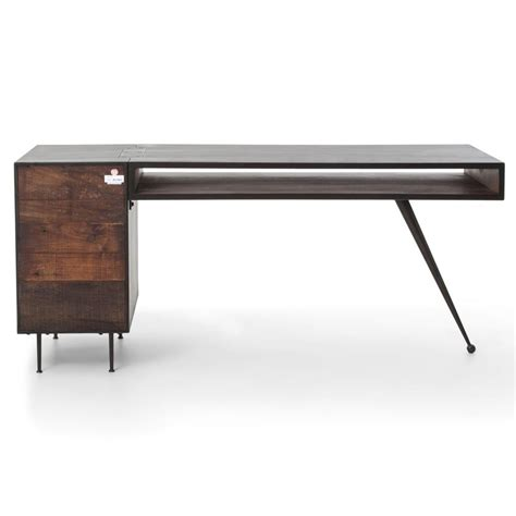 Modern Metal Desk Forman Retro Modern Industrial Loft Metal Wood 3 Drawer Desk Kathy Kuo Home