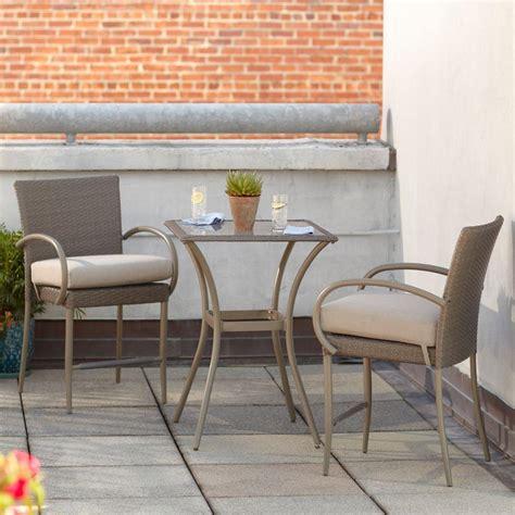Hton Bay Posada 3 Piece Balcony Height Patio Bistro Set Bistro Style Patio Furniture