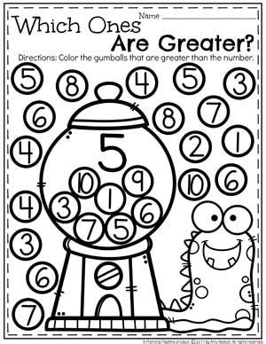 comparing numbers coloring page 848 best kindergarten activities images on pinterest