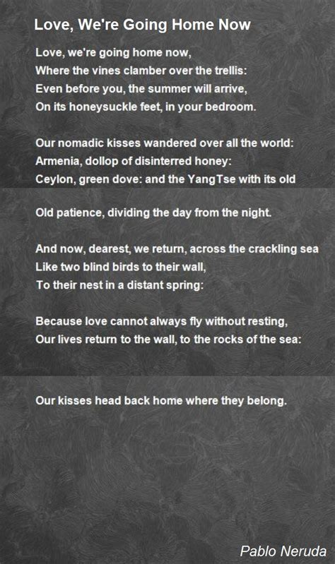 we re going home now poem by pablo neruda poem
