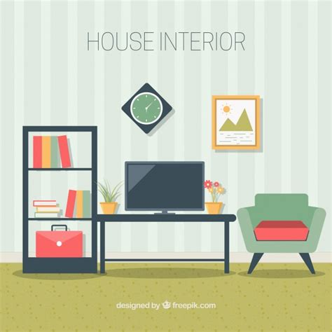 living room furniture in flat design vector free download
