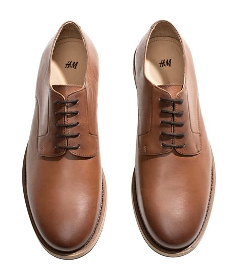 h m mens leather shoes in brown for lyst