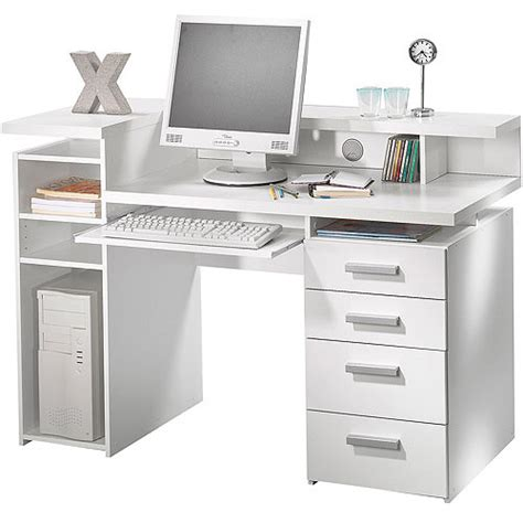 Whitman Office Desk With Hutch White Walmart Com Walmart White Desk