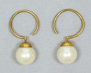 carolee vermeil white faux pearl earrings