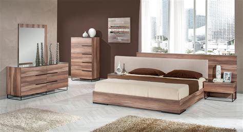 contemporary walnut bedroom furniture nova domus matteo italian modern walnut fabric bedroom set