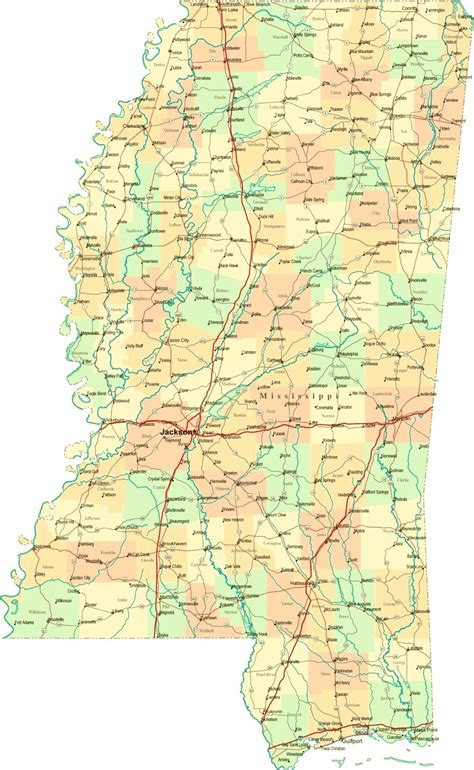 map of ms map of mississippi counties cities state map map of usa states