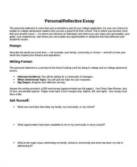 Personal Reflective Essay by 16 Essay Exles In Doc