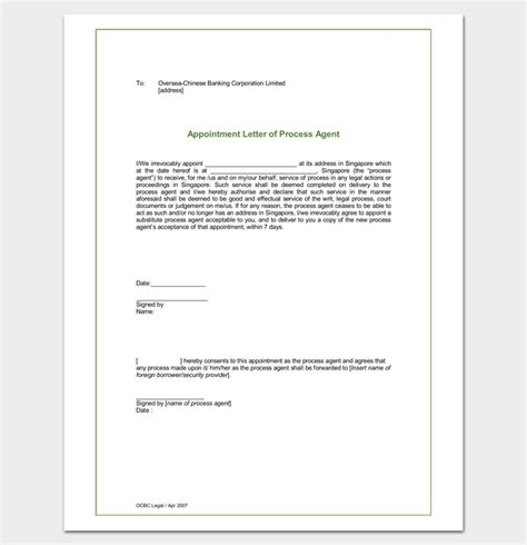 agent appointment letter samples formats examples