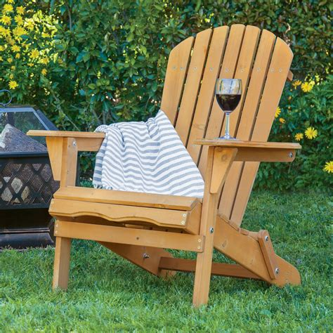 outdoor wood adirondack chair foldable patio lawn deck garden furniture ebay