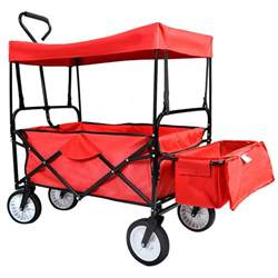 Outdoor Collapsible Canopy Folding Wagon W Canopy Garden Utility Travel Collapsible