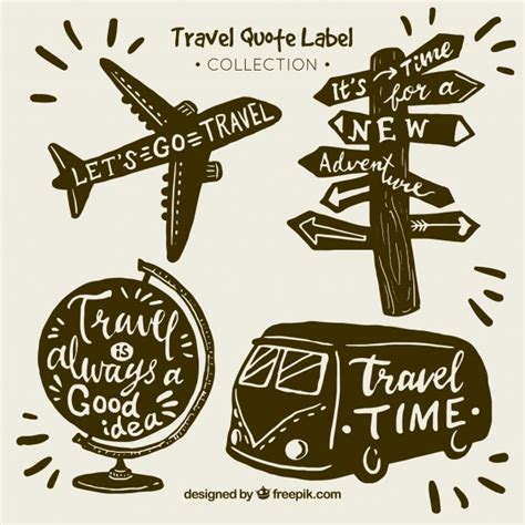 clipart viaggi vintage travel quote label collection vector free