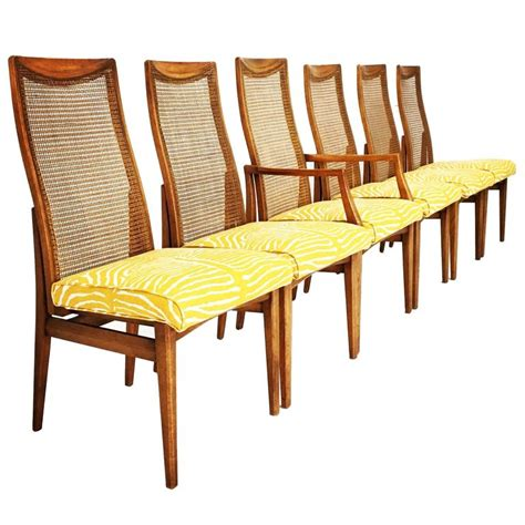 Zebra Dining Room Chairs Set Of Six Mid Century Modern Caned Zebra Dining Chairs For Sale At 1stdibs