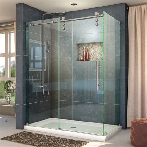 Replacement Sliding Shower Doors Shop Dreamline Enigma Z 56 375 In To 60 375 In Frameless Brushed Stainless Steel Sliding Shower