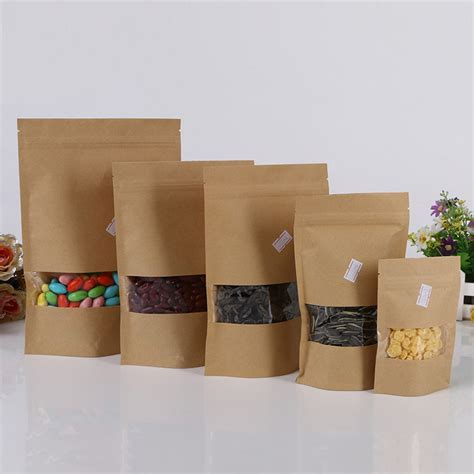 9 X 14 Kraft Paper Kemasan Bubuk Zip Lock Packaging Kopi aliexpress buy 9 14 3 10pcs brown self zip lock kraft paper bags with window for gifts