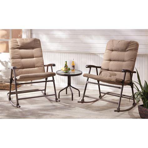 Lawn Chair Set Castlecreek Padded Outdoor Rocking Chair Set 3