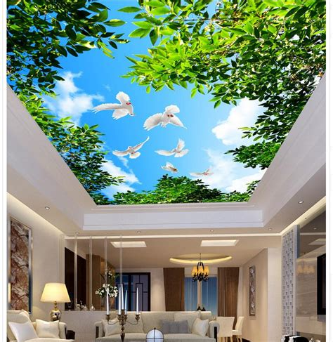 Ceiling Wallpaper by Aliexpress Buy Tree Blue Sky Clouds Pigeons Living