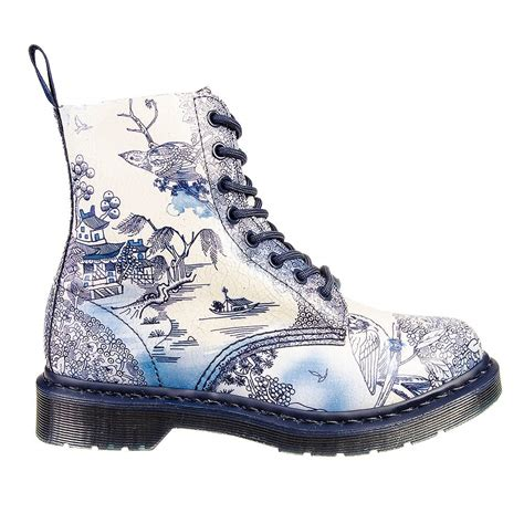 Blue Pattern Dr Martens | dr martens pascal willow pattern boots blue white ebay