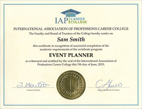 Planning Certificate B Letter Event Planner Certificate Course