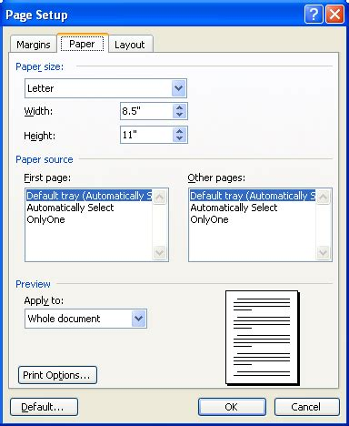 How To Make Bond Paper - selecting a paper size microsoft word