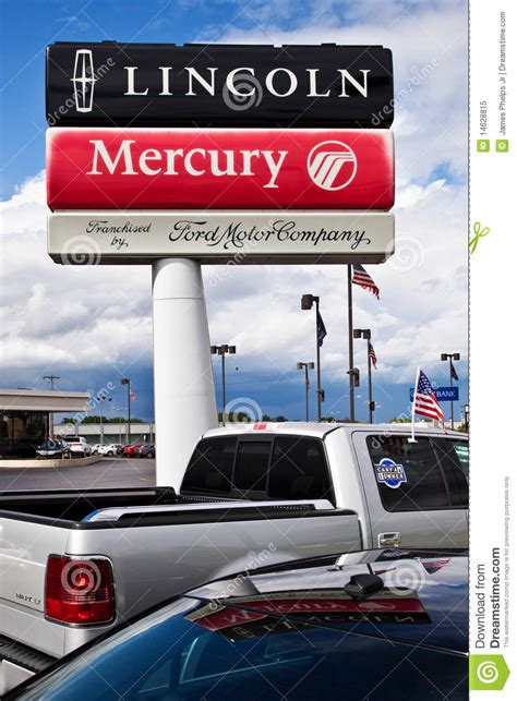 lincoln mercury ford ford lincoln mercury dealership sign editorial image