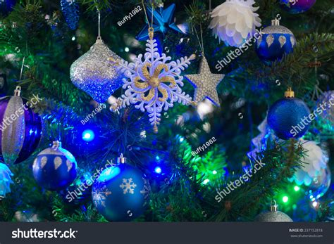 blue and green xmas lights blue green light on tree stock photo 237152818