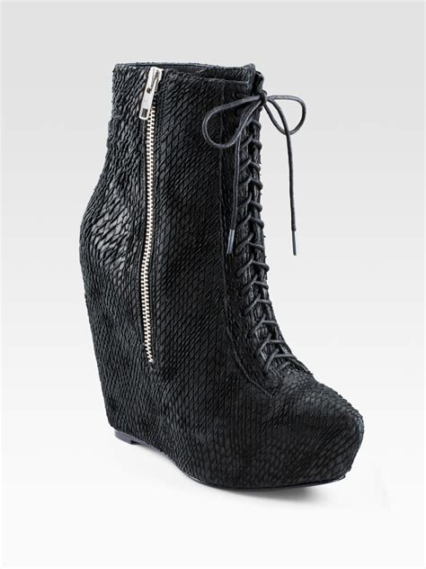 elizabeth and lace up wedge ankle boots in black lyst