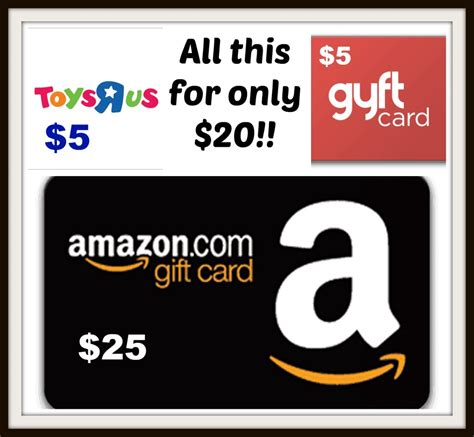 Amazon Gift Card Deals - 25 amazon 5 toys r us 5 gyft gift cards for only 20 mamas on a dime