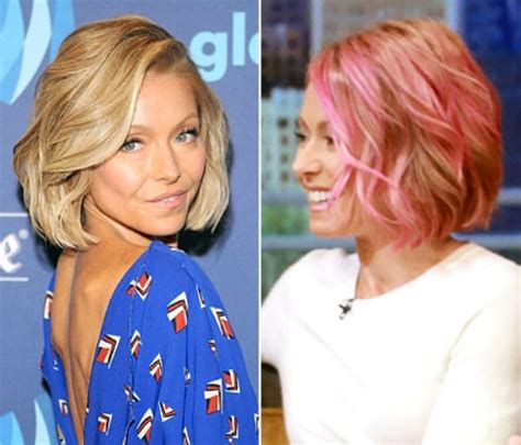 hair color kelly ripa uses kelly ripa ditches her pink hair dyes tresses bright blue
