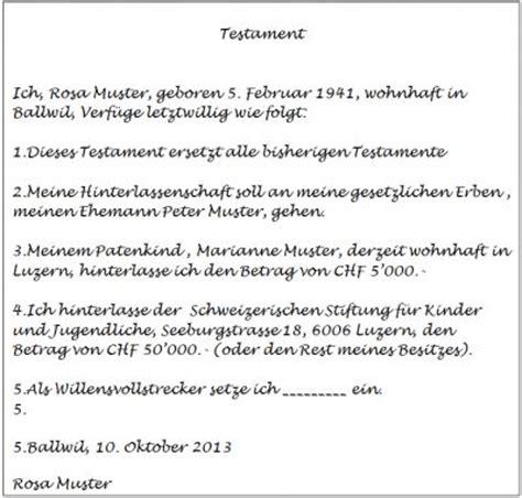 Testament Schreiben Handschriftlich Muster Schweizerische Stiftung F 252 R Kinder Und Jugendliche
