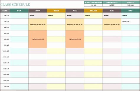 weekly timetable template excel exltemplates