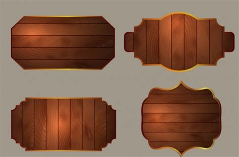 Wood Signboards Collection Various Shapes Blank Types Free Vector In Encapsulated Postscript Eps Wood Sign Templates