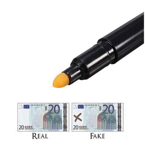 what color does a counterfeit pen turn 2x new bank note tester pen money checking detector marker