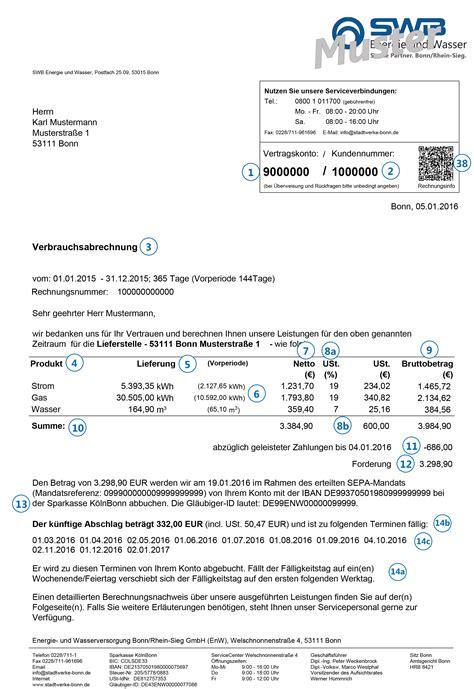 Musterrechnung Swb Rechnungserkl 228 Rung Swb Energie Und Wasser Stadtwerke Bonn
