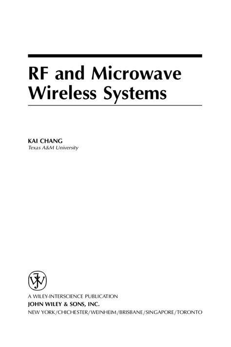 Microwave Wireless wiley rf and microwave wireless systems