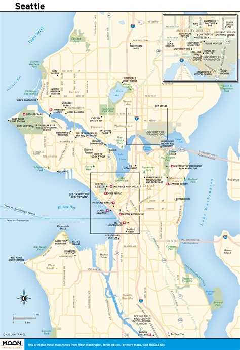 printable seattle area map printable map of seattle printable maps