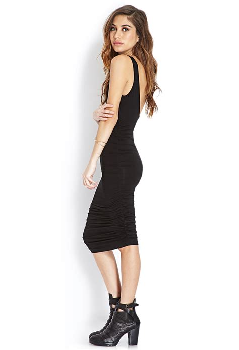 black jersey knit dress lyst forever 21 sophisticated jersey knit dress in black