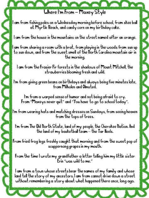 where i am from poem template i am poem exles for high school positive