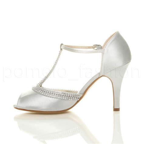 womens high heel peep toe diamante t bar wedding