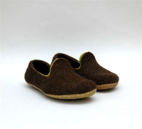 Handmade Mens Slippers - handmade felted shoes slippers home shoes brown loafers