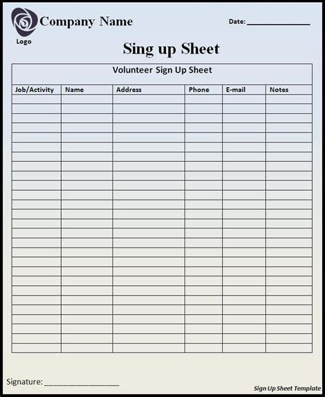 Sign Up Sheet Template Word Templates Sign In Sheet Template Docs