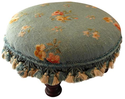 needlepoint ottoman antique round needlepoint footstool chairish